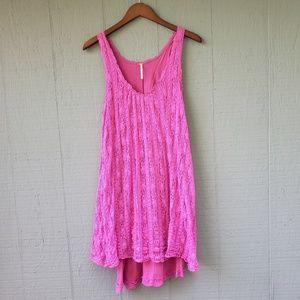 Free People Pink Lace Overlay Tank Dress Layered L